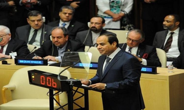 السيسى يجدد التزام مصر بالعمل على تحقيق مبادىء ميثاق الامم المتحدة