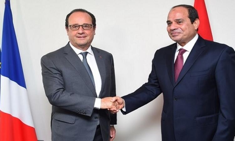 بالصور .. السيسى يشكر هولاند على صفقة الميسترال ويدعوه للاستثمار فى مصر