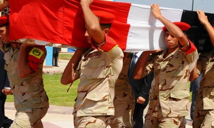 جنازة عسكرية لشهيدى القضاء فى حادث العريش بحضور رئيس الوزراء