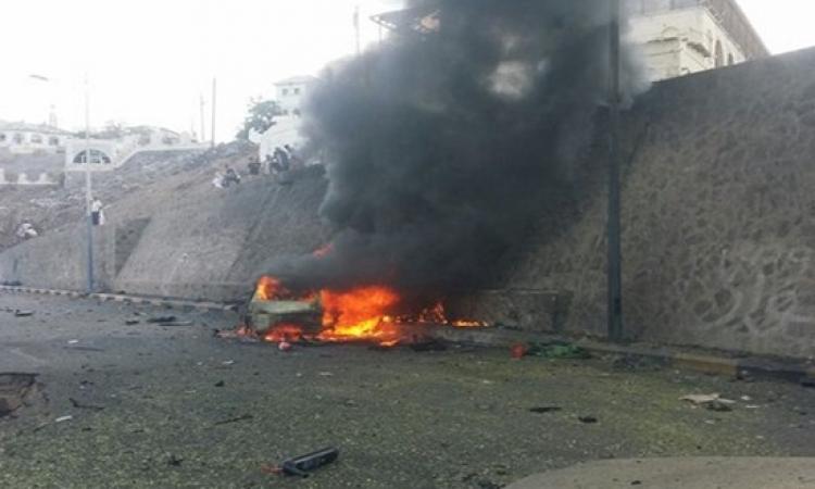 بالصور .. اغتيال محافظ عدن باستهداف موكبه بسيارة مفخخة