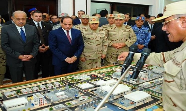 السيسى يفتتح مصانع بالفيوم ويؤكد الاهتمام بإقامة مشروعات بالصعيد