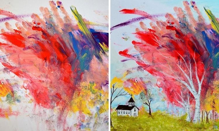 بالصور .. فنانة تحول شخبطة طفلتها الصغيرة للوحات مبهرة!!
