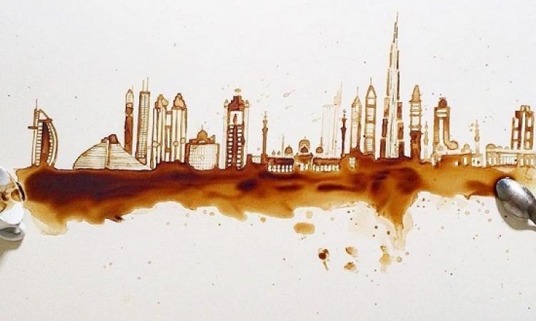 بالصور .. إيطالية تحول بقايا القهوة للوحات ساحرة !!
