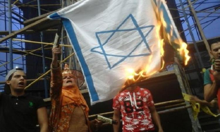 نشطاء يحرقون العلم الإسرائيلى على سلالم نقابة الصحفيين