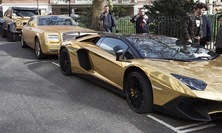 بالصور .. سيارات ذهبية سعودية تثير ضجة فى عاصمة الضباب