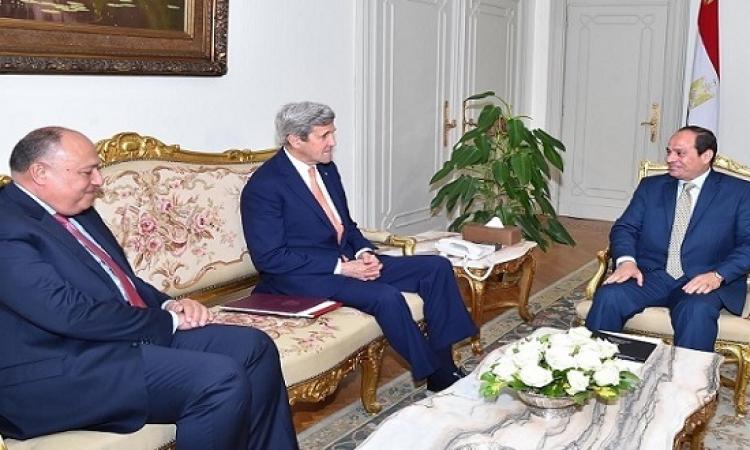 كيرى يؤكد للسيسى الشراكة الاستراتيجية بين القاهرة وواشنطن