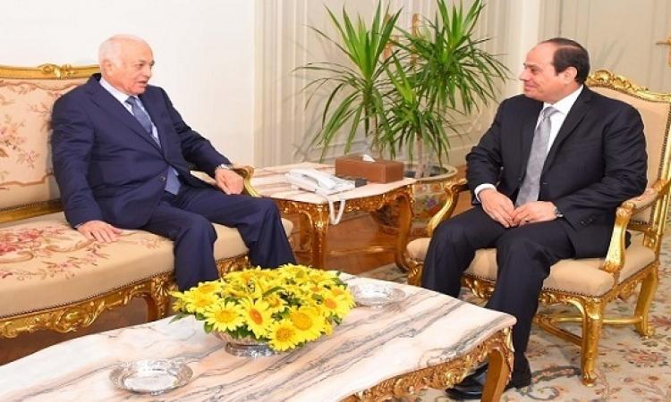 السيسى يستقبل نبيل العربى بمناسبة انتهاء عمله كأمين عام للجامعة العربية