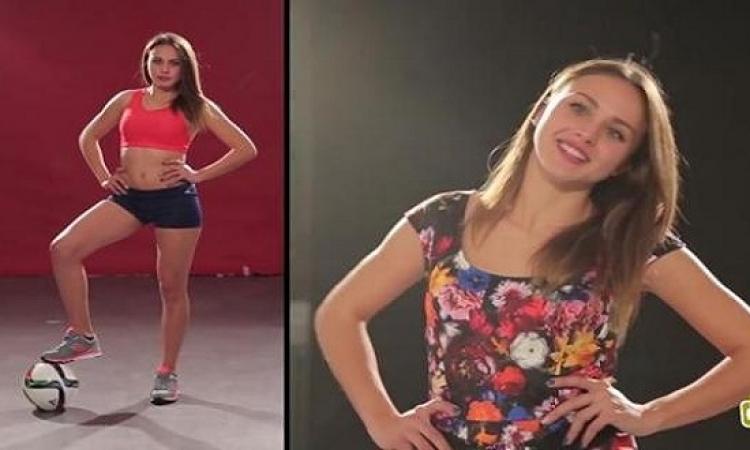 بالفيديو.. ملكة جمال إيطاليا تستعرض مهاراتها فى الكرة .. لعيبة !!