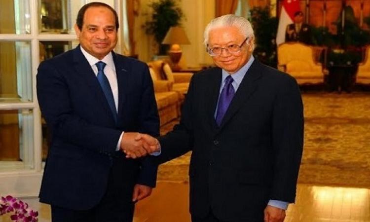 السيسى ورئيس سنغافورة يتفقان على تعزيز التعاون الاقتصادى