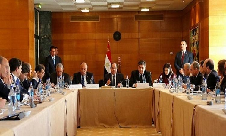 بالصور .. السيسى يلتقى بعدد من كبار رجال الأعمال البرتغاليين