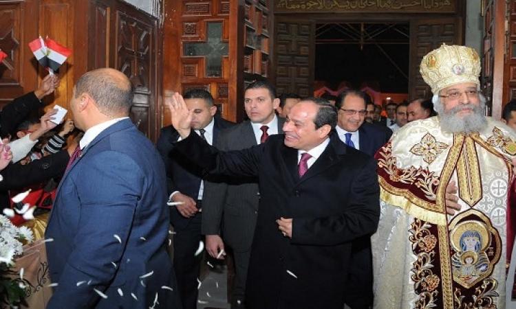 بالفيديو والصور .. السيسى يحضر قداس عيد الميلاد فى الكاتدرائية