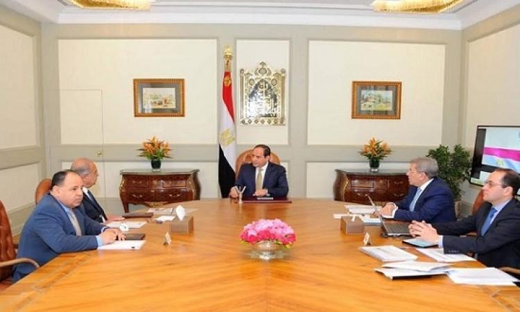 السيسى يستعرض المؤشرات المالية للاداء الاقتصادى مع رئيس الوزراء ووزير المالية ونوابه