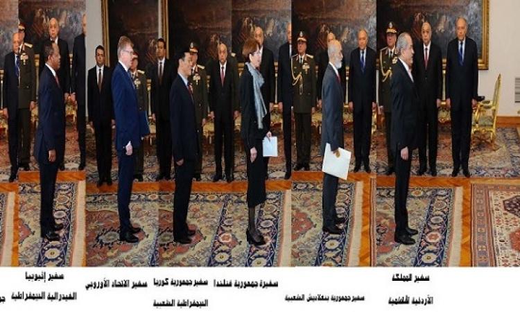الرئيس السيسى يتسلم أوراق اعتماد سبعة سفراء جدد