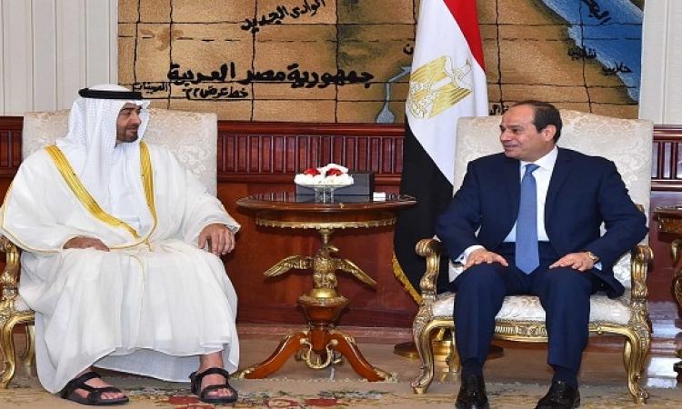 السيسى وبن زايد يؤكدان ضرورة وقف تمويل الجماعات الإرهابية