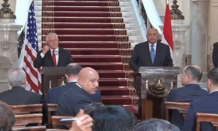 تيلرسون يؤكد وقوف واشنطن بجانب مصر ضد الارهاب .. وشكرى يثمن الدعم الامريكى للقاهرة