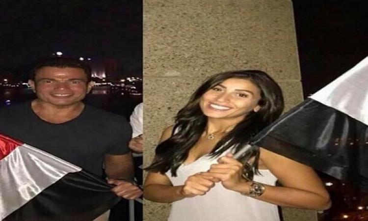 موقف ابنتا عمرو دياب من حضور حفل زفافه على دينا الشربينى