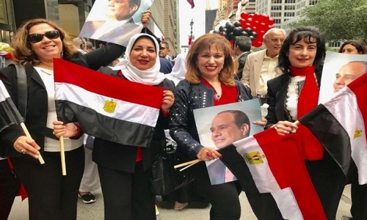 بالصور .. استقبال حافل من الجاليات المصرية بالولايات المتحدة للرئيس السيسى