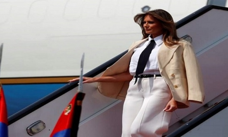 السيسي والسيدة قرينته يستقبلان ميلانيا ترامب بقصر الاتحادية