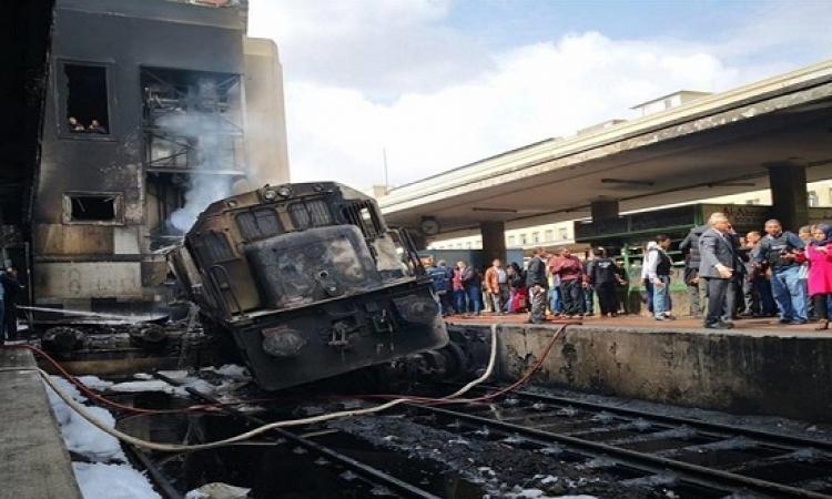 السكة الحديد ترفع الجرار المتسبب بالحادث وتبدأ ترميم المبانى المتضررة