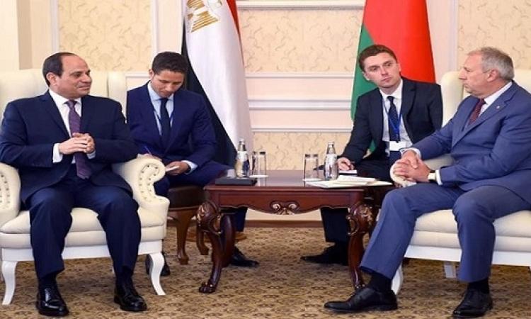 السيسي يستعرض مع رئيس وزراء بيلاروسيا جهود مصر فى مكافحة الإرهاب