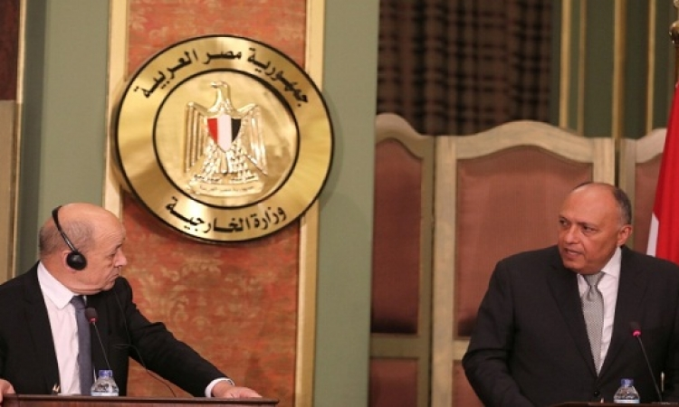 مؤتمر صحفى لسامح شكرى و جان ايف لودريان بالقاهرة