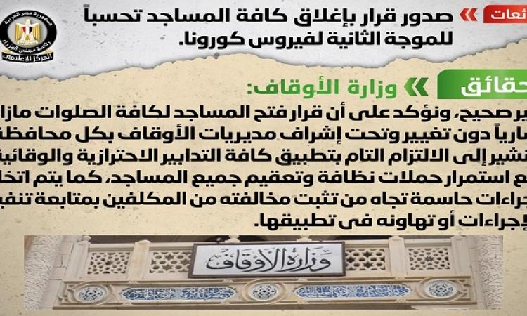 مجلس الوزراء ينفى صدور قرار بإغلاق كافة المساجد تحسباً للموجة الثانية لفيروس كورونا