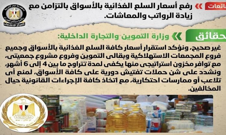 الحكومة تنفى رفع أسعار السلع الغذائية بالأسواق بالتزامن مع زيادة الرواتب والمعاشات