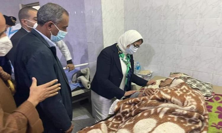 وزيرة الصحة تطمئن على الحالة الصحية لمصابي حادث قطاري سوهاج بمستشفى طهطا العام