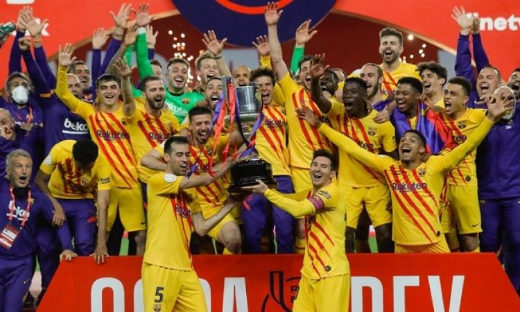 برشلونة يتوج بكأس ملك إسبانيا بعد اكتساحه أتليتك بيلباو برباعية