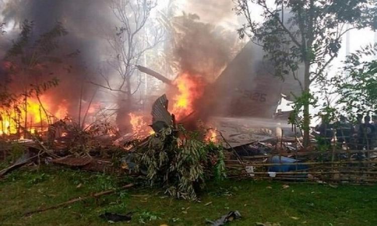 تحطم طائرة عسكرية تقل 85 شخصاً جنوب الفلبين