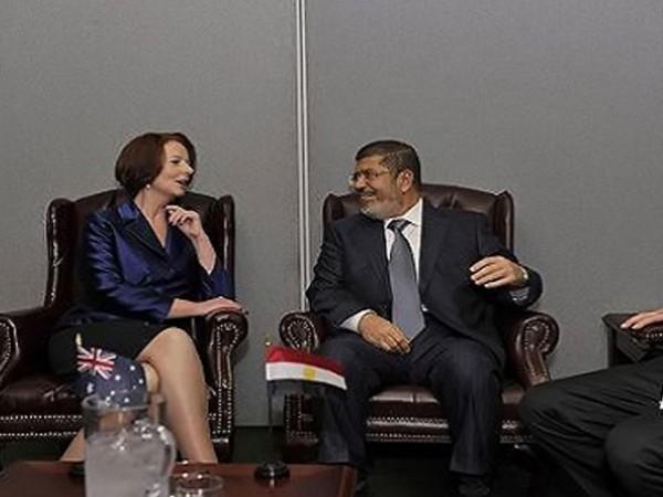 مرسي مع رئيسة وزراء استراليا