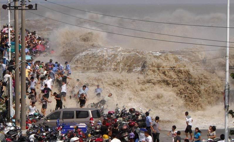 ظاهرة المد والجزر لنهر تشيانتانغ في شرق الصين