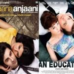 الصورة في الأيسر هي لفيلم Anjaana Anjaani الصادر عام 2010، والصورة في الأيمن هي لفيلم An Education الصادر عام 2009