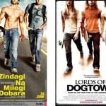 الصورة في الأيسر هي لفيلم Zindagi Na Milegi Dobara الصادر عام 2011، والصورة في الأيمن هي لفيلم Lords of Dogtown الصادر عام 2005