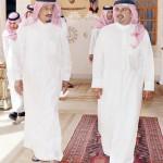 الأمير سلمان لدى استقباله ولي عهد البحرين. واس