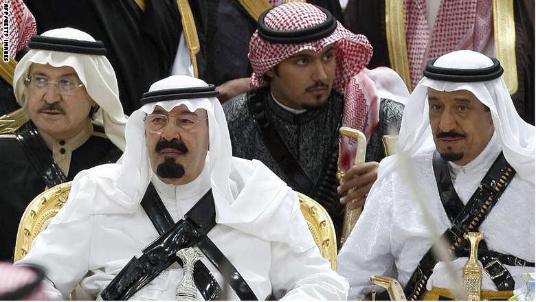 صورة تجمع بين الملك الراحل عبد الله بن عبد العزيز والملك الحالي سلمان بن عبد العزيز 18 مارس  2008