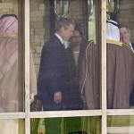 US President George W. Bush (C) introduces Saudi A