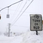 Snow is seen piled up on a snowbank in the Suffolk County town of Dix Hills, New York