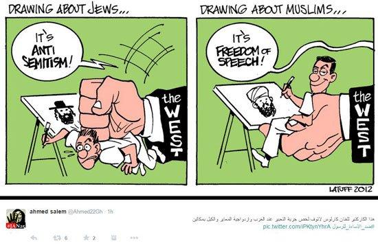 كاريكاتير يوضح عنصرية الغرب