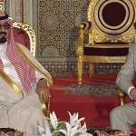 King Mohammed VI of Morocco (R) greets Saudian Pri