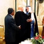 Iraqi Vice President Lizatt Ibrahim (C Greets Saudi Crown Prince Abdullah Bin Abdul Aziz