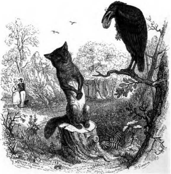 الثعلب وطائر الكركى