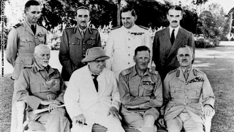 قادة سياسيون وعسكريون يناقشون في القاهرة سياسة الحلفاء تجاه اليابان خلال الحرب العالمية الثانية، نوفمبر 1943