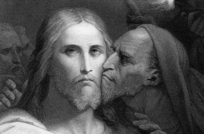 يهوذا يقبل المسيح لتسليمه