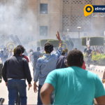 اشتباكات طلبة الاخوان مع الأمن فى جامعة القاهرة