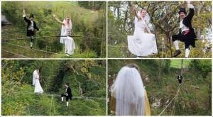 اول حفل زفاف على الحبال