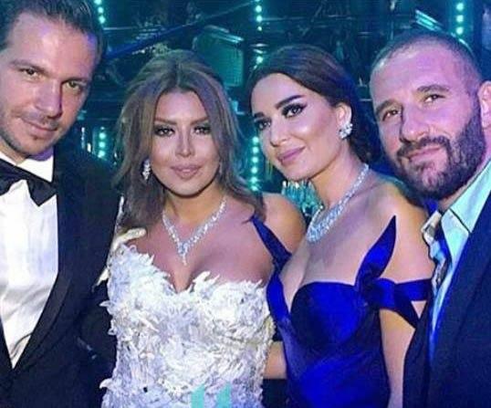 سيرين-عبد-النور-وزوجها-في-زفاف-أمل-بوشوشة-ووليد-عواضة
