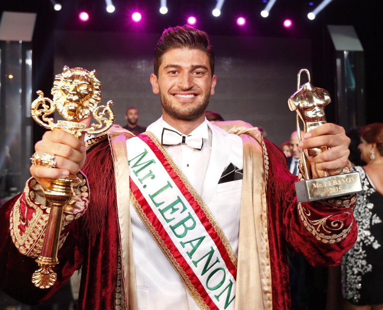 فريد مطر بعد فوزه بمسابقة ملك لبنان