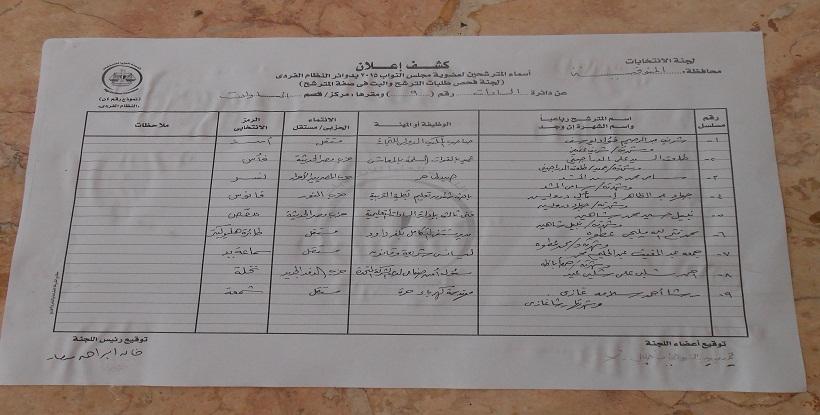 كشوف الانتخابات دائرة السادات