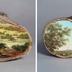 لوحات على جذوع الاشجار 2